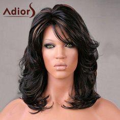 #RoseGal.com - #RoseGal Adiors Medium Side Bang Highlight Shaggy Slightly Curled Synthetic Wig - AdoreWe.com