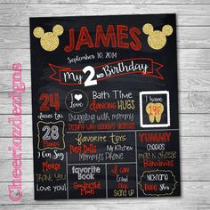 Mickey Mouse Birthday Chalkboard Poster, Gold Birthday,  Any Age, Gold Mickey Birthday Poster, Chalkboard Printable, Digital File by CheeriozDezigns on Etsy