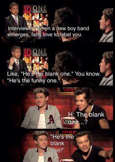 The blank one!!! XD One Direction   Funny Interview   ONE DIRECTION Interview: Harry Styles, Niall Horan, Zayn Malik, Liam Payne & Louis Tomlinson   Harry Styles