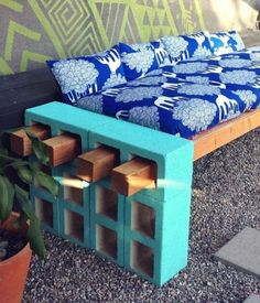 Design Simple Wonderful Easy Diy Furniture Decoration With Upcycled Cinder Blocks And Bricks Block Timber Outdoor Bench Made From Painting Carcassing And Be Equipped Blue Motif Cushion Wood Seat Blue Brick Color Wonderful Awesome