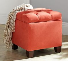 Lorraine Upholstered Cube, Polyester Wrapped Cushions, Textured Basketweave Ivory