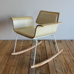 """Molded plywood rocker """"Roxy"""" chair: Maple/white leather. $375.00, via Etsy."""