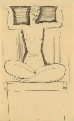 Amadeo Modigliani Caryatid Seated on Plinth with Lighted Candles c.1911. Black crayon, 16 ¾ x 10 ¼ inches; 42.7 x 26 cms.