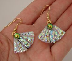 Dichroic Glass Picasso Style fan earrings