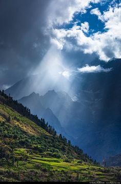 Sunrays coming through clouds in Himalayas