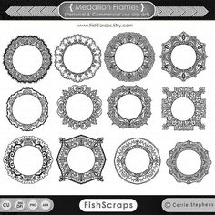 12 Round Lacey Circles - Instant Download Digital Medallion Frames that have been hand drawn in Illustrator.  Included in this download: 12 - 12-14