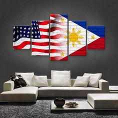 Philippines And USA Flag Multi Panel Canvas Wall Art by ElephantStock is printed using High-Quality materials for an elegant finish. We are the specialists in Modern Décor canvas prints and we offer 30 day Money Back Guarantee Traditional Filipino Tattoo, Images Wallpaper, Filipino Tribal Tattoos, American Flag Art, Art Sur Toile, Baybayin, Flag Decor, Wall Art Designs, Canvas Wall Art