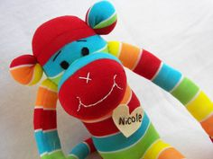 MADE TO ORDER:  Monkey Doll Plush Toy in Rainbow of bright colors by AsYouWishCreations4u, $27.00.  Can be personalized with name on chest.