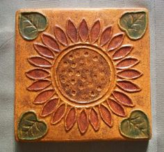 Sunflower Handpainted Ceramic Tile  Pumpkin by FarRidgeCeramics, $20.00. Get for Kitchen