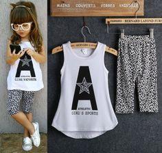 Girls 2pcs Sleeveless Letter Print Tops/Leopard Half Pant Set Clothes