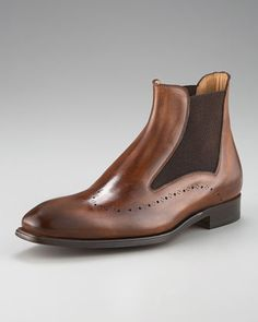 Wing-Tip Chelsea Boot by Stefano Branchini at Bergdorf Goodman.