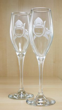 Check out these Shark Champagne Flutes from Bread and Badger