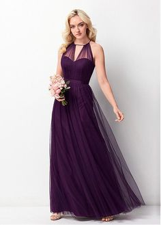 Long Eggplant Bridesmaids Dresses