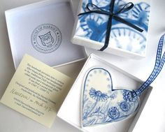 Hand painted porcelain  heart   Dutch blue and by HarrietDamave