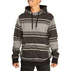 Faded Glory Men's Marl Stripe Sherpa Hoodie, Size: Large, Gray