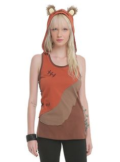 I think I need this in my life. | Star Wars Her Universe Ewok Hooded Tank | Hot Topic