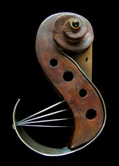 Black Scroll Swan Violin Brooch. Lisa and Scott Cylinder. Jewelry made from musical instrument parts. (via All Images From Lisa and Scott Cylinder: Transpositions | Velvet da Vinci Contemporary Art Jewelry and Sculpture Gallery | San Francisco)