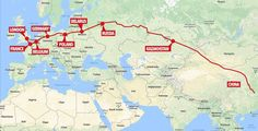 The route service from China to the UK: The service will pass through seven countries before arriving in London Germany Poland, Kazakhstan, Finland, Belgium, Norway, Egypt, Europe, France, China