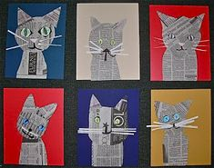 Collage Cats made from newspaper- Gr.4, print a fun patterned background, cut out cat shape. glue on new paper