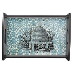 Beehive on Blue Serving Tray