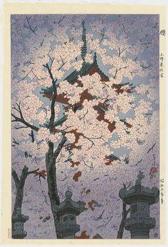 Blooming Cherry at Toshogu Shrine, Ueno – Shiro Kasamatsu (1898-1992)