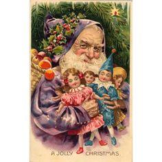 Purple Santa - elf-like - holds toys and basket of apples