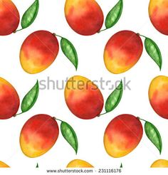 Watercolor seamless pattern with mango fruit and leaf on white background