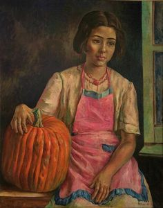 """""""Niña con Zapallo (Girl with Pumpkin)"""", Antonio Berni. Just saw this painting at the Amelia Lacroze de Fortabat Art Collection in Buenos Aires, and fell in love with it. Latino Artists, New Artists, Illustrations, Portrait Art, Portraits, American Artists, Traditional Art, Female Art, Painting & Drawing"""