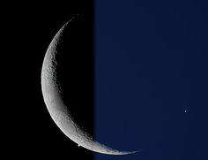 Crescent Moon Meets Evening Star