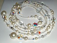 Beautiful Murano Glass, Crystal, Pearl Lariat Necklace