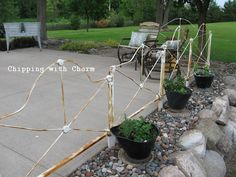 "Chipping with Charm: ""Out Back""...vintage headboard patio fence...http://www.chippingwithcharm.blogspot.com/"