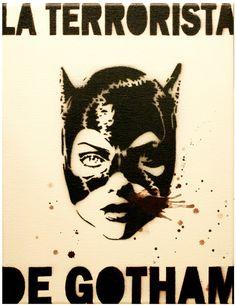 CATWOMAN La TERRORISTA de GOTHAM Batman 11 x 14 Canvas Stencil Spray Paint Acrylic Paint Original Painting. $55.00, via Etsy.