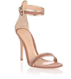 Dark nude and gold suede sandal Gianvito Rossi - Savannah's