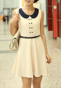 Ladylike Style Peter Pan Collar Sleeveless Button Embellished Drawstring Waist Women's DressSummer Dresses | RoseGal.com