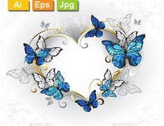 Buy Jewelry Heart with Butterflies Morpho by on GraphicRiver. Jeweled, golden heart with blue and white realistic butterflies morpho. Design with blue butterflies morpho. Tattoos With Kids Names, Tattoos For Women, Body Art Tattoos, New Tattoos, Spine Tattoos, Butterfly Tattoo Designs, Butterfly Design, Orange Butterfly, Butterfly Pictures