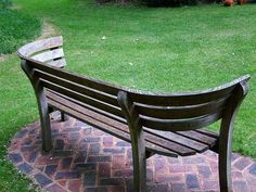 Lovely curved wooden bench