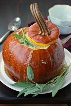 :: Havens South Designs :: Leek and Gruyère Bread Pudding Baked in a Pumpkin - rather like fondue in a pumpkin!