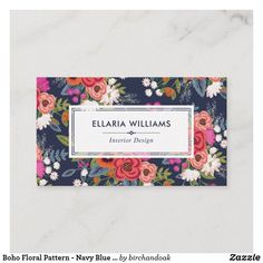 Shop Vibrant Pink Blue Boho Floral Pattern Business Card created by birchandoak.