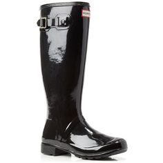 Hunter Original Tour Gloss Rain Boots ($150) ❤ liked on Polyvore featuring shoes, boots, black, knee-high boots, knee high boots, black knee-high boots, black patent leather boots, rain boots and rubber boots