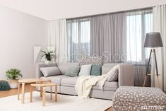 Blush And Grey Living Room, Wave Curtains, Curtain Headings, Side Wall, Living Room Interior, Windows, Stock Photos, Stylish, Home Decor