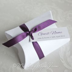 A Lovely Pillow Box Favour That Incorporates The Guest Name Within This Is Pearlescent Card Pilow Finished With Ribbon