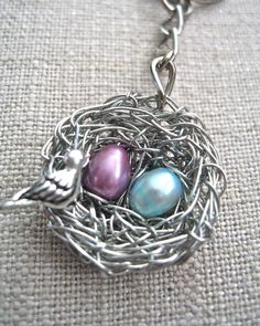 Birds Nest Personalized Keychain; for Jo $34 - I would like this design as a mom's necklace.