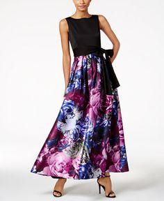 Tahari ASL Floral-Print Contrast Gown