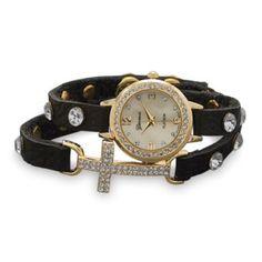 Adjustable Leather Wrap Watch W/ Gold Tone Cross.