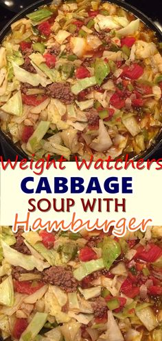 Cabbage Soup With Hamburger is quick to make, healthy, low in carbs and full of delicious flavour! Made with minimal ingredients, full of cabbage, . Don't forget to Pin this so it will be SAVED to your timeline! Skinny Recipes, Ww Recipes, Crockpot Recipes, Soup Recipes, Cooking Recipes, Healthy Recipes, Snacks Recipes, Waffle Recipes, Burger Recipes