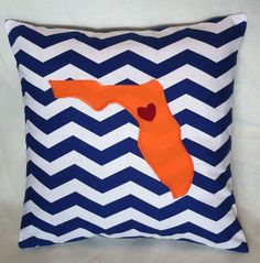 Florida Pillow with Heart  UF Gators by DreamyWeamy on Etsy, $20.00
