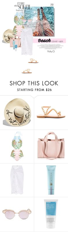 """Set # 772 / The Big Cover-Up"" by vassiliki-g ❤ liked on Polyvore featuring Eugenia Kim, Elina Linardaki, Mara Hoffman, Corto Moltedo, Miguelina, Tatcha, Le Specs, Korres, beachwear and coverups"