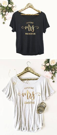 Future Mrs shirts are printed with a metallic gold foil - sure to get the newly engaged bride to be to stand out!!! Use them for a bachelorette party too! Loose fitting tops are dolman style if you want them to be off the shoulder order a size up. ***DETAILS***