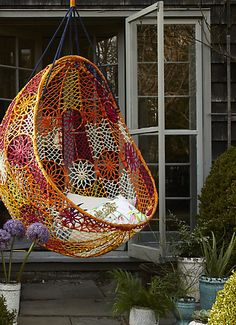Hanging chair from Anthropologie.
