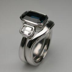 Bespoke Art Deco Engagement & Wedding Ring Set Platinum, Diamond & Blue Sapphire.